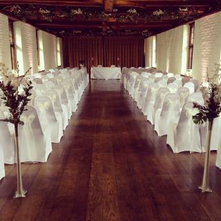 Tudor Barn set up for a wedding ceremony