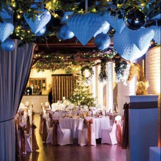 Tudor Barn set up for a wedding reception