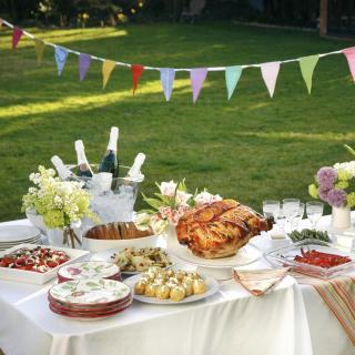 A summer party table arrangement