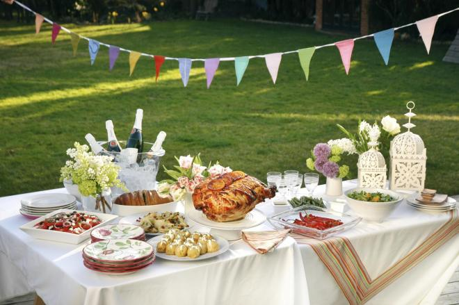 Summer party with bunting and buffet
