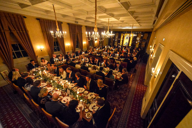 Guests eating wedding breakfast in Pewterers' Hall