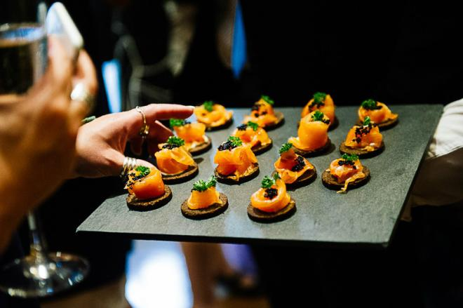Canapés at the wedding reception