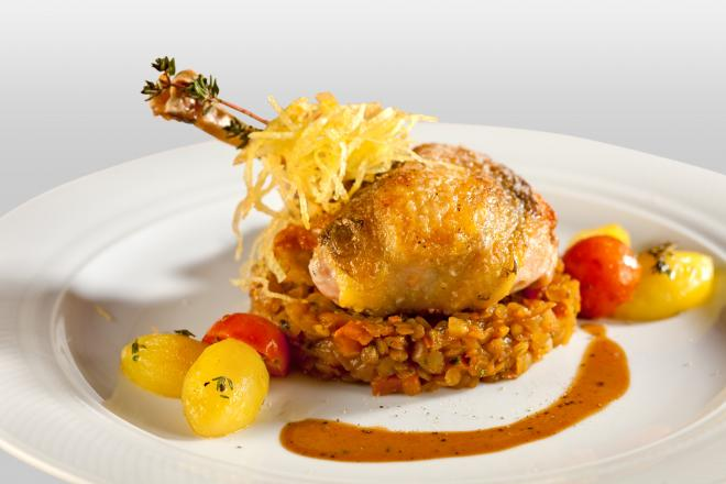 Pot Roasted Guinea Fowl with Lentils, Sherry and Bacon