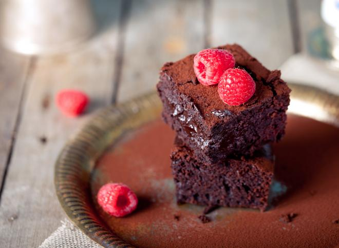 Chocolate Brownie with Raspberries Vanilla Ice-Cream