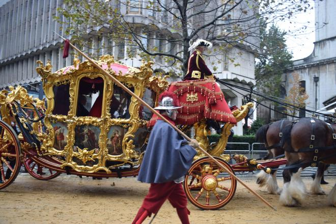 The Lord Mayor travels in the magnificent State Coach