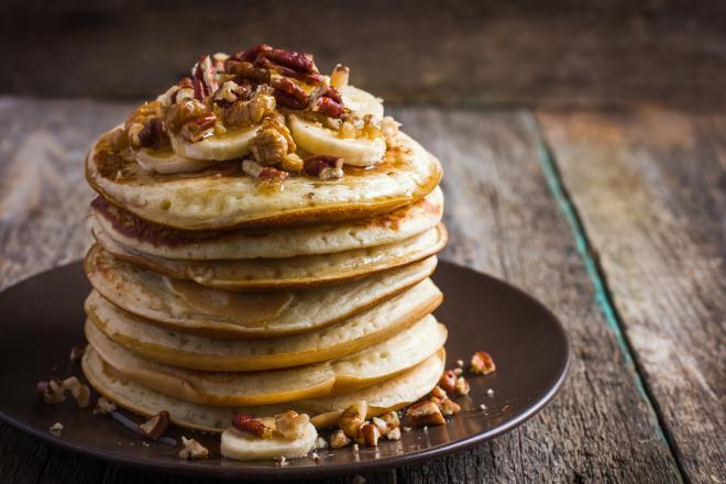 Healthy Pancakes with Banana, Honey & Natural yoghurt