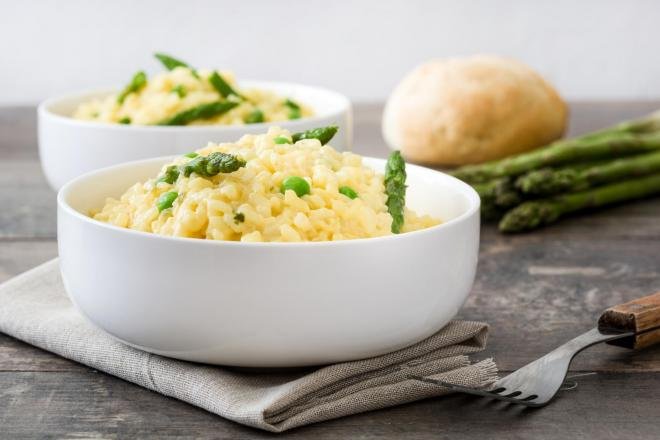 Asparagus, Pea and Goats Cheese Risotto