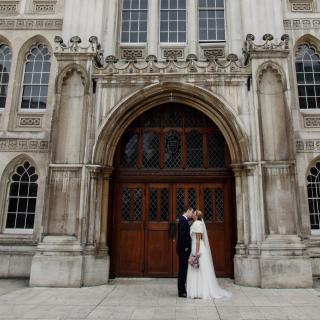Wedding couple outside Guildhall