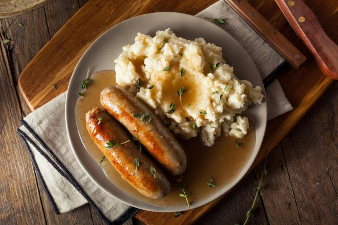 Sausage Stew with Colcannon & Onion Gravy