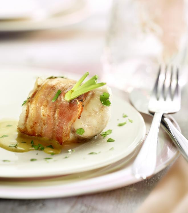 Monkfish wrapped in Parma Ham with Sweet Potato Mash & Lemon dressing