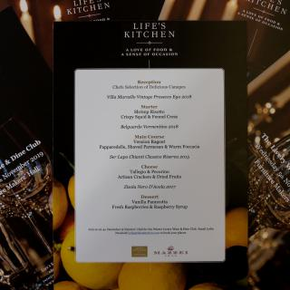 Wine and dine Menu